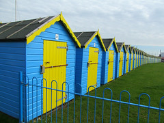 One of these could be yours for around 12,500 (pefkosmad) Tags: wood uk blue vacation england sun holiday green beach yellow sussex seaside weekend row huts hut prom promenade chalet sundaymorning sunbathing bognorregis felpham