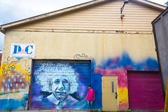 After Lincoln, we found Einstein in Lexington. (moony: stupidly dreamy) Tags: travel blue streetart color girl mural cloudy lexington kentucky einstein magenta wallart warehouse