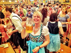 A girl from our table raising The glas to say 'prost'...