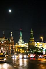 Super moon and Kremlin view from Tverskaya Street, Moscow (inchiki tour) Tags: street travel moon architecture night photo europe russia moscow illumination illuminated fullmoon redsquare  tverskaya         supermoon