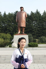 Guide at Pyongsong Square North Korea (Ray Cunningham) Tags: woman north korea guide dprk coreadelnorte pyongsong