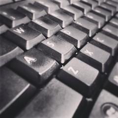 Work (Maxim34374) Tags: bw white black monochrome work keys keyboard letters type typing