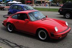 red classic car automobile 911 performance automotive turbo german porsche 1980s sportscar 930 whaletail