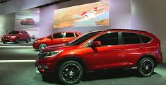Los Honda Prototype HR-V (al fondo), Jazz (centro) y CR-V