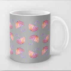 UMBRELLAS MUG (paysmage) Tags: pink cup rain weather umbrella design soft pattern wind gray rainy parasol mug tender designers parapluie society6