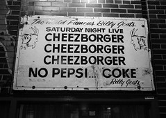 No Pepsi...Coke (k.james) Tags: chicago sign advertising lunch burger coke cheeseburger pepsi billygoat storesign kenthenderson signpainting billygoattavern thebillygoat cheeseborger chicagodining billygoatcurse kjameshenderson chicagoburgers
