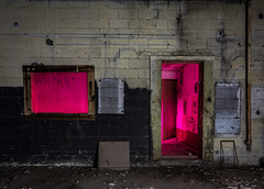 Why are you here? (GnarlyRelics) Tags: door longexposure nightphotography pink light urban lightpainting color brick abandoned window glass wall night dark painting lost photography lowlight nikon long exposure paint shoot shot decay urbandecay flash low magenta tokina explore abandon forgotten urbanexploration stains behind shambles left gel f28 strobe cto urbex debri leftbehind whyareyouhere d7100 1116mm exlploration