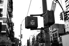 Shepard Fairey on Grand (explored) (pjpink) Tags: city nyc newyorkcity summer urban blackandwhite bw newyork sticker manhattan september fairey shepardfairey 2014 pjpink