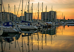 Barbican Sunrise (jamiegaquinn) Tags: charity reflection sunrise reflections boats dawn calendar harbour yacht plymouth barbican devon yachts sutton 2015 suttonharbour coxside iplymouth