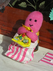 Knitted Jelly Baby (Nekoglyph) Tags: pink window yellow shop bag toy display sweet yorkshire knitted striped pickering jellybaby bassetts