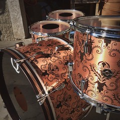 Just finished this beauty and feeling pretty good about it. Copper with a damask patina. You can see/hear this kit on tour with @turbonitro and @yellowcardrock!!!