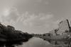 view from Asanogawa Ohashi Bridge (Takeshi Nishio) Tags: uv ilfordfp4plus nikonfm3a 白黒 フィルム 16mmfisheye ネガ ei125 浅野川大橋定点観測 spd1120deg7min filmno796