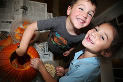 {Julian 365} Day 115 - Carving our pumpkin (citygirlny10305) Tags: boy cute halloween girl children pumpkin fun toddler duo pair seasonal adorable documentary siblings brotherandsister pumpkinguts pumpkinseeds goodtime bigsmiles carvingapumpkin 365project canon5dmarkii