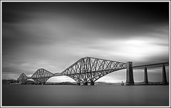 Forth Railway Bridge (ShinyPhotoScotland) Tags: longexposure bridge blackandwhite panorama building art nature water composite manipulated river lens photography scotland edinburgh dynamic emotion railway places calm equipment forth filter dreamy beyond flowing awe toned tranquil stacked imposing airy lothian firth queensferry elegance transience crazyart sumptuous senseofscale digitalvignette nd1000 enfuse timeflows sony1855 digitalgradnd digitallowpass