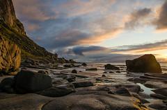 Utakleiv Beach (CO-Foto) Tags: sunset sky beach nature yellow norway rock clouds landscape lofoten utakleiv platinumpeaceaward