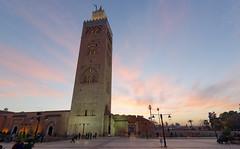 Koutoubia Mosque in Marrakech (dichiaras) Tags: morocco koutoubia mosque sunset marrakech minaret pink