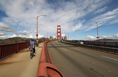 Bicycling Over the Bridge (Elfworld) Tags: sanfrancisco dowtown city usa tourism sightseeing citystreets goldengatebridge architecture bridge cycling biking bicycling