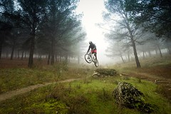 Nature&Sport (Giacomo della Sera) Tags: paisaje landscape fotografia photography naturaleza nature luz light atmosfera atmosphere nubes cloudy niebla fog montaña mountain bicicleta bici arboles trees bicicle sport deporte verde green marron brown gris grey blanco white extreme spain españa