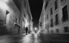 Time Traveller (Robert-Jan van Lotringen) Tags: malta valletta night man light time black white street monument architecture nightphotography streetphotography walk people city mystery space walking walker cool