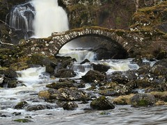Packhorse Bridge & Waterfall. (Flyingpast) Tags: bridge packhorse old ancient stone waterfall scotland scottish torrent spring cascade rocks nature gorge landscape roman highlands wild outdoors rugged water river glen arch