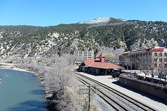 A View from the Bridge (Patricia Henschen) Tags: coloradoriver railroadstation depot glenwoodspringscolorado amtrak hoteldenver glenwoodsprings colorado railroad tracks route river mountains mountain pathscaminhos