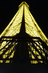 Looking up to the top level of the Eiffel Tower