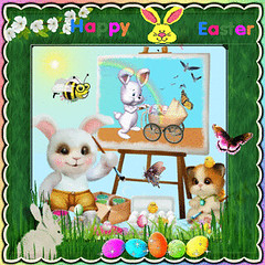 """""""A bunny paints a Happy Easter Celebration painting."""" (martian cat) Tags: gif easter easterbunny ©martiancatinjapan allrightsreserved© motivationalposter motivational ©allrightsreserved martiancatinjapan© happyeaster collectibles hobbies ☺allrightsreserved allrightsreserved caption captioncollection ☺martiancatinjapan gifimages creativity inspirational martiancat martiancat© ©martiancat martiancatinjapan macro closeup flowers eastercactus"""