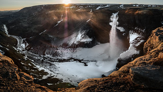 Sunset at Haifoss waterfall - Iceland - Travel photography