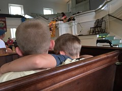 Listening to the story during morning worship