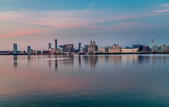 Liverpool skyline in pink and turquoise (dorinser) Tags: liverpool mersey skyline aftersunset turquoise panorama birkenhead england