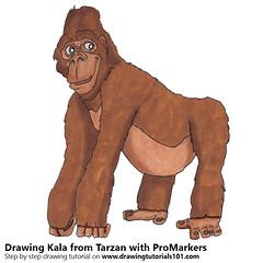Kala from Tarzan with ProMarkers (drawingtutorials101.com) Tags: kala tarzan cartoons movie promarkers alcohol markers promarker marker color coloring draw drawing drawings how sketch sketches sketching timelapse video speed