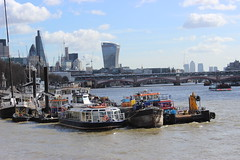 View of the Thames from the RNLI dock. (maggie jones.) Tags: workingboats tugs boats skyline buildings modern thames river london