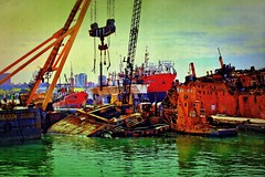 IMG_6429 Old and new (Rodolfo Frino) Tags: old new decay ship ships boat boats port mardelplata argentina sea ocean mar mer oceano colorful colourful colors colours fishing art artistic green red yellow violet black blue lightblue clouds texture
