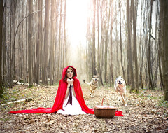 Pay attention Little red riding hood... (Camille Chavaudra ~) Tags: little red riding hood petite chaperon rouge cape forest forêt tree trees arbres arbre wolf loups chiens panier portrait nature natural light outdoor france women femme amiens