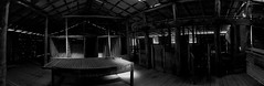 Ye Olde Woolshed (RobMacPhotography) Tags: architecture ororral valley woolshed interior bw canberra act australia black white shearing shed corrugated iron wood table low light old abandoned colonial sony a6000 panorama rob mac photography