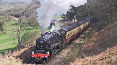 LMS Black Five No.45212 southbound at Green End [NYMR] on 26th March 2017 (soberhill) Tags: nymr northyorkshiremoorsrailway 2017 railway train steam locomotive greenend lms blackfive black5 45212