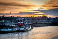JOE_9200 (weansworld1) Tags: river glasgow water crane sunset scotland nikon 24120 dusk boat steamer nikkor clydeside scottish city cityscape paddleboat waterfront amateur 50