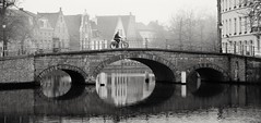 Bridge in Bruges on a Misty Morning (Barry O Carroll Photography) Tags: bridge canal reflection cyclist bicycle man bike velo cycling buildings brugge bruges belgium belgique water morning mist misty fog calm quiet cityscape urbanlandscape travel architecture flemish blackandwhite noiretblanc monochrome
