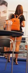 Cebit 2015 - Backpacker hostess (highangel1) Tags: high heels pumps stilettos hohe absätze nylons stockings füse schuhe shoes walk girl woman street streetshot candid strase gehen stöckelschuhe legs beine boots stiefel frau mädchen business geschäftsfrau ankle messe hostess fair cebit 2015