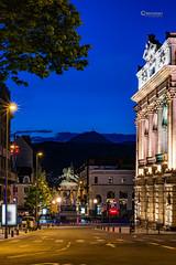 Boulevard Desaix & Place de Jaude (cleostan) Tags: clermontferrand france nikon rue place de jaude boulevard desaix auvergne nuit heure bleue lumieres theatre