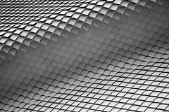 Moving wave (^Diana^) Tags: 1265 abstract architecture melbourne wave motion triangles moving opticalillusion sharp geometric bend curve black white blackandwhite monochrome