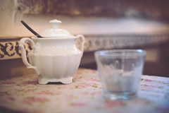 Invitation (sue.konvalinkova) Tags: stillife cup tea sugar candle decor vintage interior bokeh dof depthoffield pot roses tablecloth old nikon homey timefortea relax pastel matte