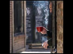 Smoke_Break (JRF Photography) Tags: smoking cigarette contre jour street photography smoke coffee break york