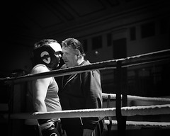 Round 1 (C.Preston Roberts) Tags: boxer boxing trainer mentor coach blackandwhite portrait sport reportage competition gym fitness strength dedication yorkhall vintage confidence belief boxingring corner inacorner prepare preparation depth thought wisdom guidence