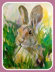 Easter Blessings to my followers! (Az~Kate) Tags: watercolor painting cottontail whimsy easter workshop joy colorful rabbit grass