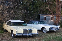 1978 Chrysler New Yorker & 1964 Imperial Crown Coupe (DVS1mn) Tags: mopar 1978 chrysler new yorker brougham yellow 4door hardtop luxury 1964 imperial crown coupe white 2door 1964chryslerimperial 64 coop chryslercorporation crowncoupe crowncoop