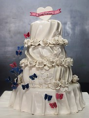 White frills Butterflies and rose cake (the Baker & the School) Tags: pink wedding roses india cake order butterflies best celebration online buy exclusive frill ibcablr