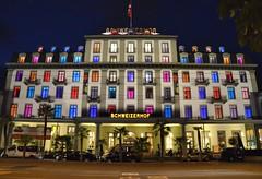 Schweizerhof Hotel (jpellgen) Tags: travel summer vacation colors architecture night lights hotel switzerland nikon europe european swiss luzern august tamron lucerne lucern 2014 18200mm schweizerhof d5100