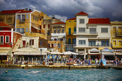 Chania, Greece (Rune Lind) Tags: old houses urban lighthouse creek marina buildings town harbour hellas kreta center crete promenade area hania venetian fortifications municipal hstferie chania 2014 kriti sydenferie grandbaybeachresort thechaniaprefecture