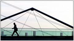 Schrittmacher (EOS1DsIII) Tags: bridge silhouette germany deutschland person grn brcke dsseldorf glas geometrie medienhafen linien eos1dsiii bestcapturesaoi elitegalleryaoi